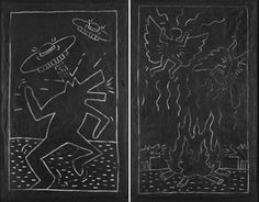 keith haring chalk drawings