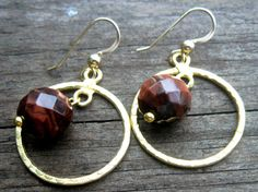Faceted Red Tiger Eye Earrings by VirginiaCharm on Etsy, $22.00