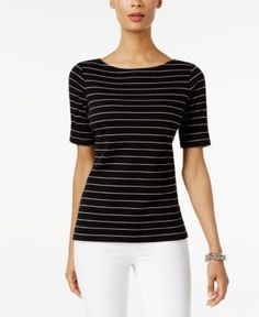 Evoke laid-back elegance with Karen Scott's petite striped boat-neck top. | Cotton/polyester | Machine washable | Imported | Boat neckline | Pullover styling | Short sleeves with rolled cuffs | Hits a
