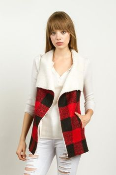 Buffalo Plaid Shearling Lined Vest - Red/Black