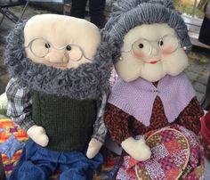 Muñecos de trapo, abuelo y abuela costurera  #manualidades