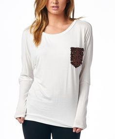 Look what I found on #zulily! Always Me Ivory Sequin Pocket Dolman Top by Always Me #zulilyfinds