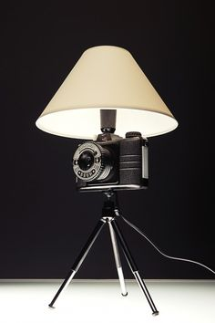 Photo Lamp DRUH in lights  with Vintage upcycling recycling photo Light Lamp Handmade