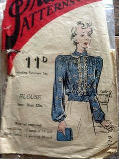 """Practical Patterns 6131. 1940's Blouse. Bust 32"""". Traced copy. Complete."""