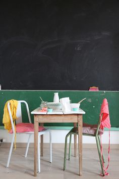 two types of chalkboard paint divided by chalk ledge