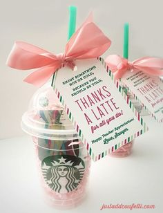 DIY Teacher Gifts - Thanks A Latte Teacher Gift - Cheap and Easy Presents and DIY Gift Ideas for Teachers at Christmas, End of Year, First Day and Birthday - Teacher Appreciation Gifts and Crafts - Cute Mason Jar Ideas and Thoughtful, Unique Gifts from Ki Teacher Christmas Gifts, Holiday Gifts, Diy Christmas, Daycare Teacher Gifts, Valentine Gifts For Teachers, Christmas Birthday, Teacher Thank You Gifts, Cheap Teacher Appreciation Gifts, Teacher Assistant Gifts