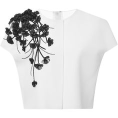 Carolina Herrera Mirror Petal And Stem Techno Jersey Blouse ($2,490) ❤ liked on Polyvore featuring tops, blouses, crop top, white blouse, cap sleeve top, white cap sleeve top and white embroidered blouse