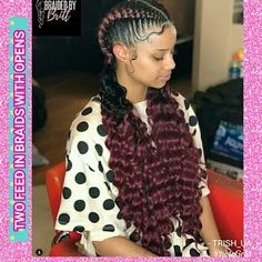 HAIR TRENDS 2018 trending hairstyles for black girls : Two feeding braids with opens Bridal Jewelry Two Braids Hairstyle Black Women, Two Braid Hairstyles, Braided Hairstyles Tutorials, Braids For Black Hair, Black Women Hairstyles, Cool Hairstyles, Protective Hairstyles, Natural Hairstyles For Kids, Natural Hair Styles