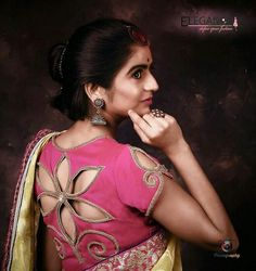 Silk saree blouse designs featuring floral cut out design on the back. pattu saree blouse designs with cut work New Saree Blouse Designs, Best Blouse Designs, Simple Blouse Designs, Stylish Blouse Design, Blouse Back Neck Designs, Kurti Neck Designs, Bridal Blouse Designs, Choli Designs, Designer Blouse Patterns