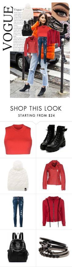 """""""Red"""" by renu-cini ❤ liked on Polyvore featuring MM6 Maison Margiela, The North Face, Street Leathers, Dsquared2 and Unravel"""
