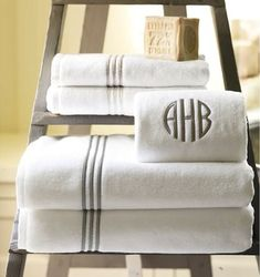 Monogrammed bath towels, like these ones from Pottery Barn, are popular registry picks.