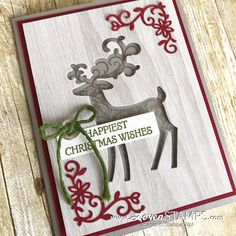 LovenStamps: Crafting Hacks for Negative Space Silhouette Cards - with Dashing Deer from Stampin Up for Stamps in the Mail Club with Meg Stampin Up Christmas 2018, Christmas Cards To Make, Christmas Deer, Christmas Animals, Xmas Cards, Handmade Christmas, Holiday Cards, Christmas Stuff, Christmas Gifts