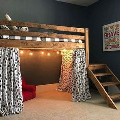 16 Ideas For Bedroom Loft Bed Stairs Bedroom Loft, Dream Bedroom, Bedroom Decor, Bedroom Ideas, White Bedroom, Boys Bunk Bed Room Ideas, Boys Loft Beds, Bedroom Lighting, Bedroom Brown