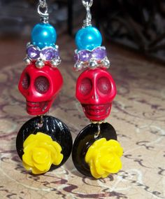 Day of the Dead Earrings Yellow Lucite Rose by NickiLynnJewelry, $7.50