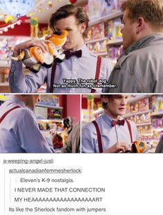 Eleven's K-9 nostalgia. I noticed this the first time I watched the episode. It was cute of them to tie K-9 in like that.
