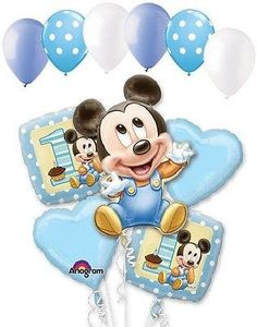 11 pc 1st Baby Mickey Mouse Happy Birthday Balloon Bouquet Party Blue Disney
