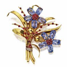 18 KARAT GOLD, SAPPHIRE, RUBY AND DIAMOND 'POSY' BROOCH, VAN CLEEF & ARPELS, FRANCE, 1940