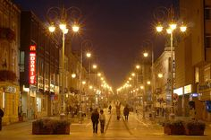 """Henryk Sienkiewicz Street in Kielce is the main commercial and historic """"artery"""" of the city of Kielce, Poland. It was built in the middle of the 19th century"""