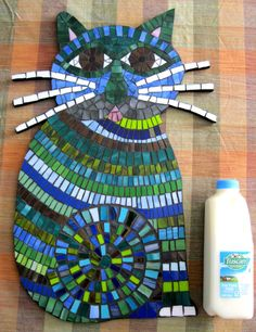GIANT 2 Foot Mosaic Cat with Whiskers Stained Glass Tile Teal, Blue, Green Decorative Wall Art FREE Shipping