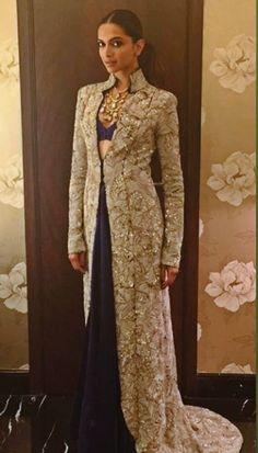 Deepika Padukone in Anamika Khanna Indian Wedding Outfits, Pakistani Outfits, Indian Outfits, Wedding Dresses, Sangeet Outfit, Shrug For Dresses, Indian Designer Suits, Sari, Saree Styles
