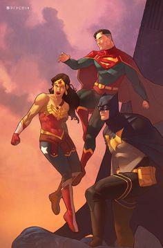 The DC Trinity: Superman, Wonder Woman & Batman - Jamal Campbell Comic Book Characters, Comic Book Heroes, Comic Character, Comic Books Art, Comic Art, Batman Wonder Woman, Arte Dc Comics, Marvel Comics, Marvel Avengers