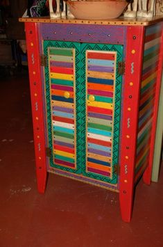 folk art painted furniture | Beautiful cabinet in Basura Stick colors. 28″ x 20″ x 44″. 2 ...