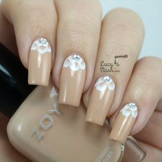 Romantic Bridal Nail Art - One Stroke Half-Moon Design - Lucys Stash
