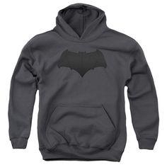 BATMAN V SUPERMAN/BATMAN LOGO-YOUTH PULL-OVER HOODIE-CHARCOAL