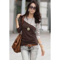 $5.21 Glamour Round Neck Color Block Splice Design Long Sleeve Slim Fit Cotton Blend T-Shirt For Women