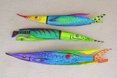 Tropical Fish Carved from Queen Palm Seed Pod Over Two Foot Long Yellow/Blue. $45.00, via Etsy.