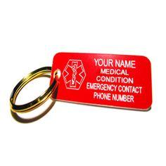 Medic Alert ID Tag Keychain, Custom ENGRAVED FREE Plastic, - TP1R
