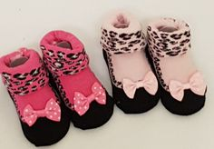 New born baby socks shoe pink leopard pink bows gift Baby shower  0-3 months #softtouch