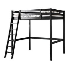 IKEA - STORÅ, Loft bed frame, black, , You can use the space under the bed for storage, a work space or seating.The ladder can mount on the left…