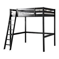 IKEA - STORÅ, Hochbettgestell, schwarz, , Die Fläche unter dem Bett lässt sich als Schreibplatz, Aufbewahrung oder Sitzplatz perfekt nutzen.Die Leiter kann links oder rechts ans Bett montiert werden.Aus Massivholz, einem strapazierfähigen, lebendigen Naturmaterial.
