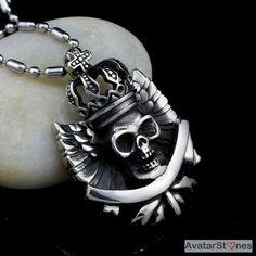 Men's Stainless Steel Skull Crown Cross Pendant Necklace Chain P3V34 - $47nok (12)