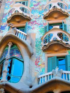 Gaudi Apartments Barcelona Spain! Lucky enough to have visited. Gaudi Park even better... It's like Dr Suess land......