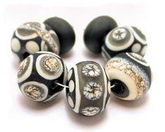 Handmade Black Gray Ivory Silvered  Lampwork Glass by ArcadiaBeads, $34.99