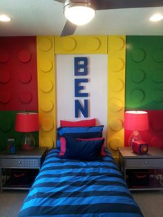 Lego wall using wood planks & foam circles. Instead of bed frame we could make bigger frames to hang on walls.