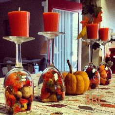 Fall Table Centerpiece Pumpkin Wine Glasses- Thanksgiving Wine Glasses- Candle Holder- Set Of Hand Painted Wine GlassesFall Table Centerpiece Pumpkin Wine Glasses- Thanksgiving Wine Glasses- Candle holder- Set of Hand Painted Wine Glasses Wine Glass Centerpieces, Fall Table Centerpieces, Thanksgiving Centerpieces, Diy Thanksgiving, Table Decorations, Thanksgiving Pictures, Autumn Decorations, Halloween Decorations, Decoration Vitrine