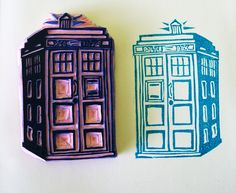 The Tardis - Hand Carved Stamp based on doctor who's police box / the tardis http://www.flickr.com/photos/miss_thundercat/sets/72157622928888572/ #handmade #rubber_stamps