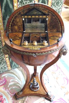 Antique sewing table inside globe