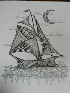 Sailboat with moon by cre8iveart on Etsy