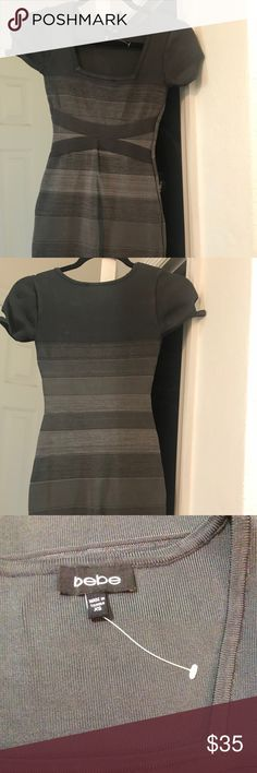 Bebe Multi Gray Body Con Fitted Bandage Dress XS Bebe Multi Gray Body Con Fitted Sexy Bandage Dress Size XS  Never worn in new condition   I'm cleaning out my closet, Please check my other listing 😉  Feel free to ask if you have any other question in regard this item. bebe Dresses Mini