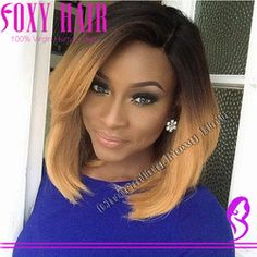 Online Shop New Fashion Ombre Bob Lace Wig 100% Peruvian Virgin Hair Short Lace Front Wig With Bangs Layers Human Hair Ombre Short Bob Wigs Aliexpress Mobile