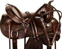 Dark Brown Trail Endurance Western Horse Saddle Tack 15 17