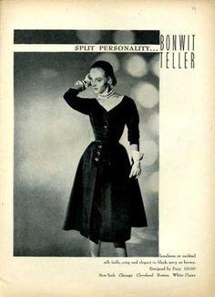 Bonwit Teller Foxy Silk Faille Fashion Dress (1951)
