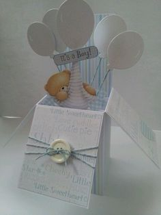 Baby boy pop up box card (image only) Pop Up Box Cards, 3d Cards, Paper Cards, Folded Cards, Cute Cards, Card Boxes, Baby Boy Cards, New Baby Cards, Baby Shower Cards
