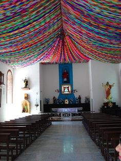 I'm in LOVE with this church decorated with paper streamers! Can you imagine if you did a ceiling in your house for a party. Yes, it would ...
