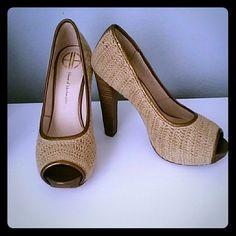 Peep toe crocheted heels open-toe crocheted platform heels feature metallic-leather trim. Partially-covered stacked platform. Stacked heel. Leather sole. Size 39, feels like it runs small. House of Harlow 1960 Shoes Heels
