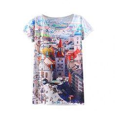 Women Summer Short Sleeve O-neck Print Loose Casual T-shirt
